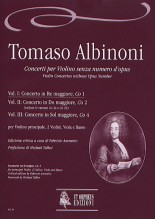 Albinoni, Tomaso : Violin Concertos without Opus Number for principal Violin, 2 Violins, Viola and Basso - Vol. 1: Concerto in D major, Co 1 [Score]