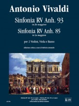 Vivaldi, Antonio : Sinfonia RV Anh. 93 in C Major - Sinfonia RV Anh. 85 in A Major for 2 Violins, Viola and Basso [Score]