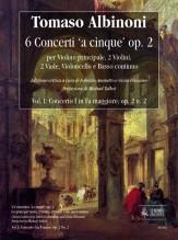 Albinoni, Tomaso : 6 Concertos 'a cinque' Op. 2 for principal Violin, 2 Violins, 2 Violas, Violoncello and Continuo - Vol. I: Concerto I in F major, Op. 2 No. 2 [Score]