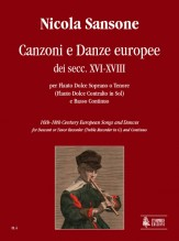 Sansone, Nicola : 16th-18th Century European Songs and Dances for Descant or Tenor Recorder (Treble Recorder in G) and Continuo