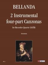 Bellanda, Lodovico : 2 Instrumental four-part Canzonas (Verona 1599) for Recorder Quartet (SATB)