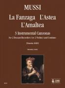 Mussi, Giulio : La Fanzaga, L'Astea, L'Amaltea. 3 Instrumental Canzonas (Venezia 1620) for 2 Descant Recorders (2 Violins) and Continuo