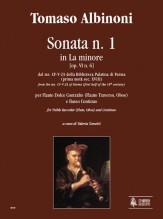 Albinoni, Tomaso : Sonata No. 1 in A Minor from the ms. CF-V-23 of the Biblioteca Palatina in Parma (early 18th century) for Treble Recorder (Flute, Oboe) and Continuo
