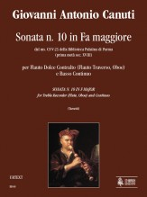 Canuti, Giovanni Antonio : Sonata No. 10 in F Major from the ms. CF-V-23 of the Biblioteca Palatina in Parma (early 18th century) for Treble Recorder (Flute, Oboe) and Continuo