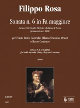 Rosa, Filippo : Sonata No. 6 in F Major from the ms. CF-V-23 of the Biblioteca Palatina in Parma (early 18th century) for Treble Recorder (Flute, Oboe) and Continuo