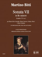 Bitti, Martino : Sonata VII in D Minor (London c.1711) for Treble Recorder (Flute, Violin, Oboe) and Continuo