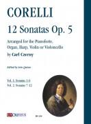 Corelli, Arcangelo : 12 Sonatas Op. 5 arranged for the Pianoforte, Organ, Harp, Violin or Violoncello by Carl Czerny - Vol. 1: Sonatas 1-6 [Score]