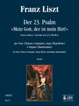 """Liszt, Franz : Der 23. Psalm - """"Mein Gott, der ist mein Hirt!"""" (German text by J.G. Herder) for Voice (Tenor or Soprano), Harp (Piano) and Organ (Harmonium)"""
