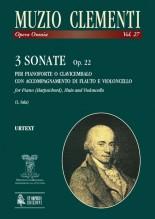 Clementi, Muzio : 3 Sonatas Op. 22 for Piano (Harpsichord), Flute (Violin) and Violoncello