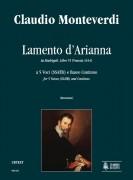 Monteverdi, Claudio : Lamento d'Arianna (Madrigali. Libro VI, No. 1) for 5 Voices (SSATB) and Continuo [Score]