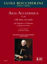 """Boccherini, Luigi : Aria Accademica G 556 """"Mi dona, mi rende"""" for Soprano and Orchestra [Vocal Score]"""