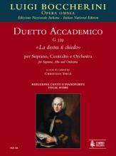"""Boccherini, Luigi : Duetto accademico G 559 """"La destra ti chiedo"""" for Soprano, Alto and Orchestra [Vocal Score]"""