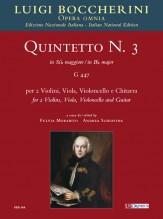 Boccherini, Luigi : Quintet No. 3 in B flat major (G 447) for 2 Violins, Viola, Violoncello and Guitar [Score]