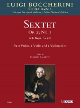 Boccherini, Luigi : Sextet Op. 23 No. 3 in E major (G 456) for 2 Violins, 2 Violas and 2 Violoncellos