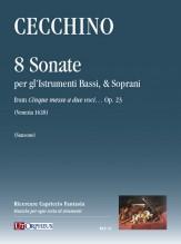 """Cecchino, Tomaso : 8 Sonate per gl'Istrumenti Bassi, & Soprani from """"Cinque messe a due voci…"""" Op. 23 (Venezia 1628)"""