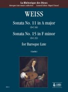 Weiss, Sylvius Leopold : Sonata No. 11 in A Major (S-C 16) - Sonata No. 15 in F Minor (S-C 21) for Baroque Lute