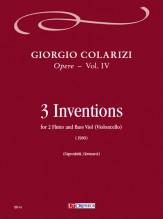 Colarizi, Giorgio : 3 Inventions for 2 Flutes and Bass Viol (Violoncello) (1980)
