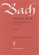 Bach, J.S. : Cantata BWV 138, Warum betrübst du dich, mein Herz? per Canto e Pianoforte
