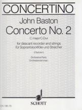 Baston, J. : Concerto n. 2 in do, per Flauto dolce Soprano e Archi. Set parti orchestrali