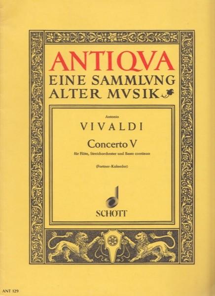 Vivaldi, A. : Concerto op. X n. 5, per Flauto, Archi e Basso continuo. Partitura