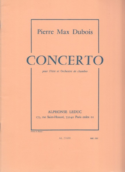 Dubois, P. M. : Concerto per Flauto e Orchestra da camera, riduzione per Flauto e Pianoforte