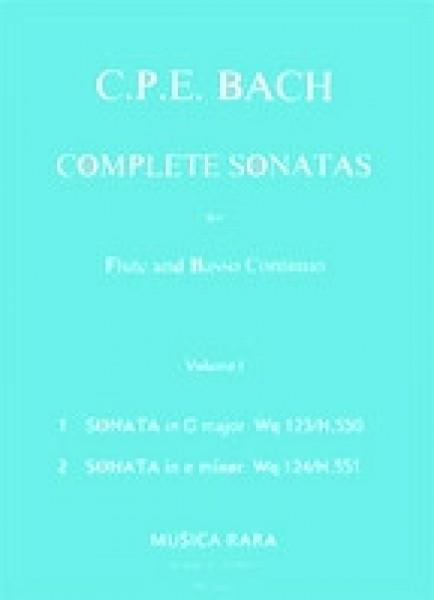 Bach, Carl Philipp Emanuel : Sonate complete per Flauto e Basso continuo, vol. I: - G-dur Wq 123 (H. 550), e-moll Wq 124 (H. 551)