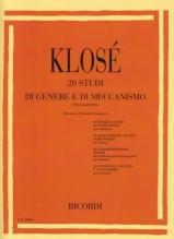 Klosé, Hyacinthe Eléonore : 20 studi di genere e di meccanismo, per Clarinetto