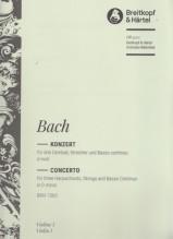 Bach, J.S. : Concerto in re minore BWV 1063, per 3 Clavicembali, Archi e Basso continuo. Set parti