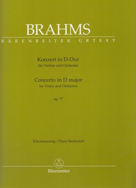 Brahms, J. : Concerto op. 77 per Violino e Orchestra, riduzione per Violino e Pianoforte. Urtext