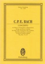 Bach, C.P.E. : Concerto in la per Flauto o Violoncello, Archi e Basso continuo. Partitura tascabile
