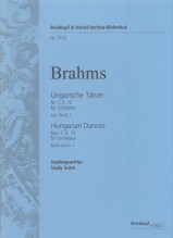Brahms, J. : Hungarian Dances: no. 1 in G minor, No. 3 in F major, No. 10 in F major. Partitura tascabile. Urtext