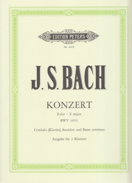 Bach, Johann Sebastian : Concerto BWV 1053, per Clavicembalo e Orchestra d'archi, riduzione per 2 Clavicembali