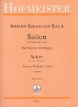 Bach, J.S. : 6 Suites BWV 1007-1012 per Violino, dall'originale per Violoncello. Parte I