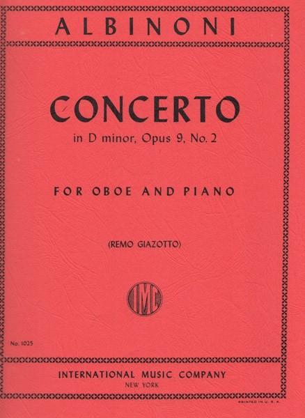 Albinoni, Tomaso : Concerto in re minore op. 9 nr. 2, riduzione per Oboe e Pianoforte