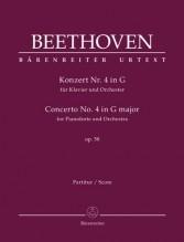 Beethoven, L. van : Concerto n. 4 op. 58 per Pianoforte e Orchestra. Partitura. Urtext
