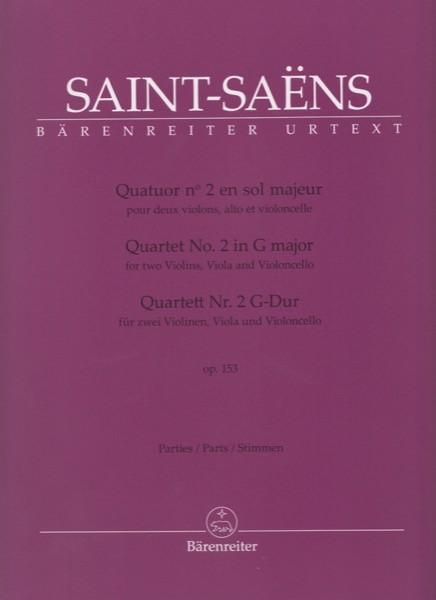 Saint-Saens, C. : Quartetto d'Archi n. 2 op. 153, per 2 Violini, Viola e Violoncello. Set parti. Urtext