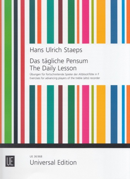 Staeps, H.U. : The Daily Lesson. Exercises for advancing players, per Flauto dolce Contralto