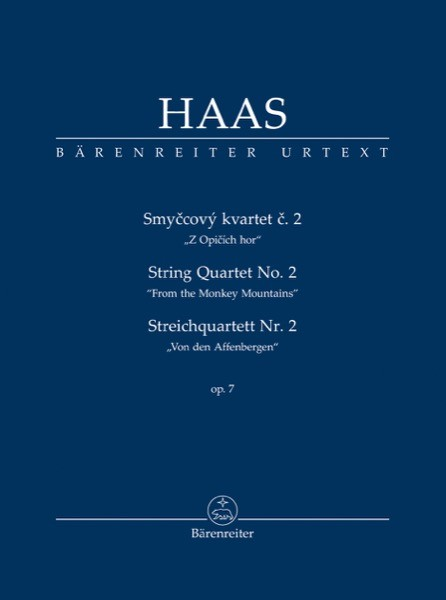 """Haas, P. : String Quartet nr. 2 """"From the Monkey Mountains"""". Partitura tascabile. Urtext"""
