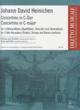 Heinichen, Johann D. : Concertino in do, per 3 Flauti dolci Contralti (o Flauti traversi), Archi e Basso continuo. Partitura e parti