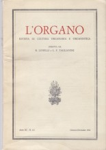 AA.VV. : L'Organo. Rivista di cultura organaria e organistica. Anno III, 1962