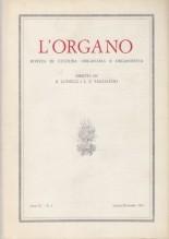 AA.VV. : L'Organo. Rivista di cultura organaria e organistica. Anno II, 1961, n. 2