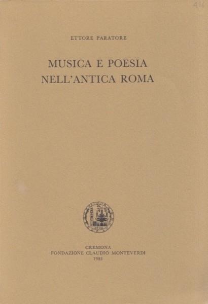 Paratore, E. : Musica e poesia nell'antica Roma