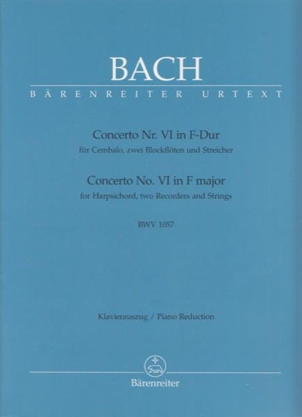 Bach, Johann Sebastian : Concerto VI BWV 1057 per Clavicembalo e Orchestra, riduzione per 2 Clavicembali. Urtext