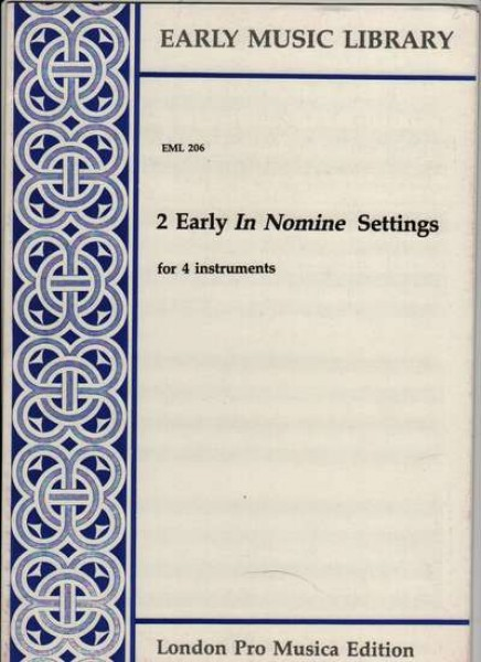 Anonimi : 3 early In nomine settings per 4 strumenti