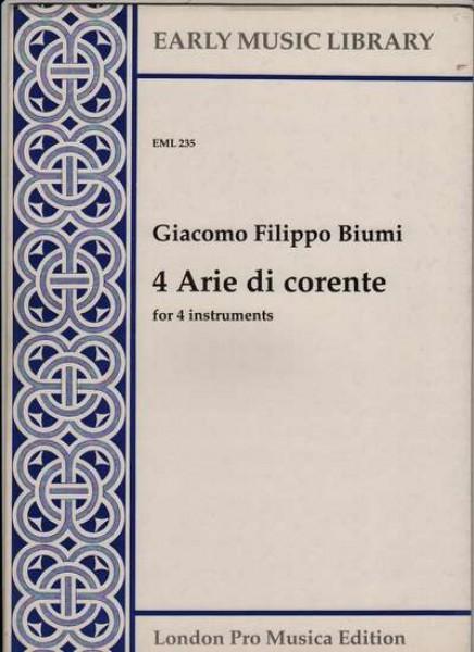 Biumi, G. F. : 4 arie di corrente per 4 strumenti (SATB) (Thomas)