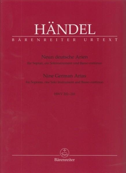 Händel, Georg Friedrich : Neun deutsche Arien HWV 202-210 per Soprano, strumento solista e Basso continuo. Urtext
