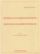 Falla, Manuel de : Noches en los Jardines de España, per Pianoforte e Orchestra da camera. Partitura tascabile